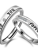 Couples' Black Love You Forever  Silver Ring(A pair of selling)
