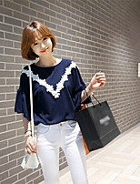 Women's Solid Blue T-shirt , Round Neck ½ Length Sleeve