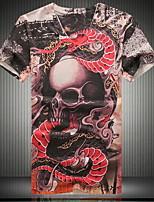 Men's Punk Fashion V-neck 3D Skull Digital Printing Short Sleeved T-shirt