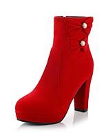 Women's Shoes Fleece Chunky Heel Platform/Fashion Boots/Bootie Boots Dress Black/Red
