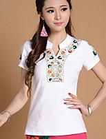 Women's Blue/Red/White/Black T-shirt , V Neck Short Sleeve Embroidery
