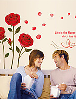 Wall Stickers Wall Decals, Ronmantic Golden Edge Rose PVC Wall Stickers