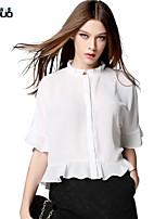 Women's Ruffled Collar Half Flare Sleeve Ruffles Hem Chiffon Shirt Tops Blusas