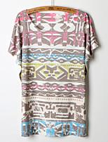 Women's Print/Geometric Multi-color T-shirt , Round Neck Short Sleeve