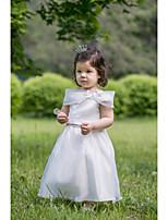 Flower Girl Dress Tea-length Satin A-line Sleeveless Dress