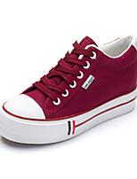 Zapatos de mujer Tela Tacón Plano Creepers/Punta Redonda Sneakers a la Moda Oficina y Trabajo/Casual Bermellón