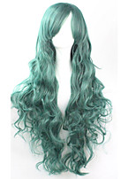 Cos Anime Bright Colored Wigs Long Green Curly  Hair Wig 80 cm
