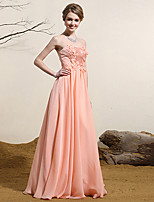 Formal Evening Dress A-line Strapless Floor-length Satin Chiffon Dress