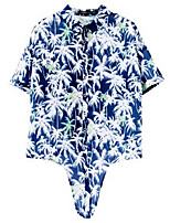 Women's Print Blue T-shirt Short Sleeve