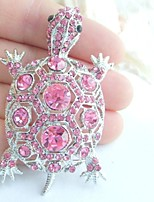 Women Accessories Silver-tone Pink Rhinestone Crystal Turtle Tortoise Brooch Art Deco Crystal Brooch