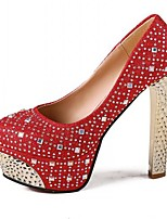 Women's Shoes Patent Leather Kitten Heel Heels/Round Toe Pumps/Heels Party & Evening/Dress Red/Silver/Gold