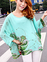 Women's Floral Green Blouse , Round Neck Long Sleeve