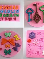 ensemble de 4 ustensiles de cuisson en silicone moule fondant moule gâteau de décoration (couleur aléatoire)