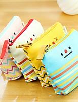 Korean Simple Expression Stylish Multi Color Cloth Coin Purse (Random Delivery)