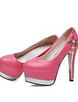 Women's Shoes Faux Leather Stiletto Heel Heels/T-Strap Pumps/Heels Wedding/Dress/Casual Black/Red/Beige