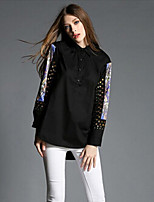 TS Women's Fashion Simplicity Print Beads Long Sleeve Blouse(Polyester)