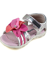 Baby Summer Shoes Outdoor/Dress/Casual Faux Leather flower trimmed Sandals Brown/Silver