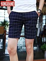 Men's Casual/Sport Plaids & Checks Shorts Pants (Cotton Blends) KB6C05