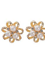 Women's Exaggeration Individuality Big Flowers Pearl Stud Earrings HJ0085