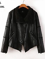 LIVAGIRL®Women's Jacket Fashion Joint Fur Collar Thicken Slim Jacket Europe Style Winter All-Match Motorbike Top Outwear