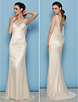 Lan Ting Sheath/Column Wedding Dress - Ivory Sweep/Brush Train Cowl Lace