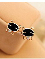 Love Is Your Lovely Smile Black Cat High-grade Fine Diamond Stud Earrings
