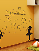 Wall Stickers Wall Decals, Black Boy Girl Blowwing Bubbles PVC Wall Stickers