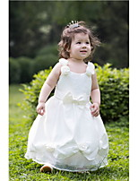 Flower Girl Dress - Trapezio Lunghezza tè Senza Maniche Raso