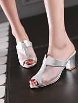 Women's Shoes Tulle Stiletto Heel Peep Toe Slippers Dress/Casual Pink/Silver/Gold