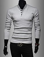 Herren Freizeit/Büro/Sport T-Shirt  -  Einfarbig Lang Baumwollmischung