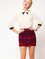 Women's Casual/Work Micro-elastic ¾ Sleeve Regular Shirt (Chiffon)