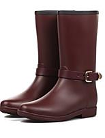 Scarpe Donna PVC Quadrato Stivali da pioggia/Punta arrotondata Stivali Casual Nero/Rosso