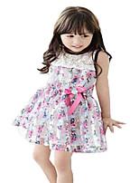 Baby Kids Girls Sleeveless Lace Bow Belt Floral Summer Sundress (Cotton Blends)