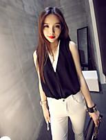 Women's Color Block Black Blouse , V Neck Sleeveless Layered
