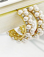 Korea Retro Palace Pearl Diamond Elegance Hoop Earrings