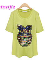 Women's Casual/Cute Micro-elastic Short Sleeve Regular T-shirt (Cotton)