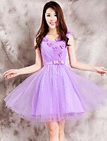 Dress - Purple Ball Gown Scoop Tea-length Lace
