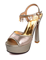 Chaussures Femme Similicuir Talon Aiguille Bout Ouvert/A Plateau Sandales Habillé Jaune/Argent/Or