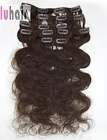 20inch (50cm) 8pcs 100g corpo ondulato Clip in su reale remy umani colore estensioni dei capelli # 04 marrone medio