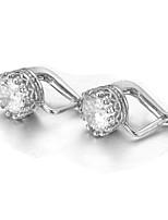 T&C Women's Classic Crown Style 18k White Gold Plated 1.25 carat Swiss Cubic Zircon Stone Pierced Clip Earrings