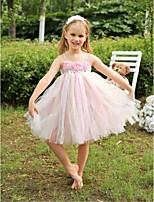 Flower Girl šaty - Tyl Bez rukávů - Áčkový střih Po lýtka