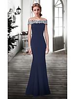 Fiesta formal Vestido - Azul Tinta Corte Sirena Hasta el Suelo - Hombros Caídos Encaje