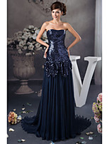 Formal Evening Dress A-line Strapless Floor-length Satin/Sequined Women Long Prom Dresses