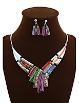 NEW Style Women's Eye-Catching Color Bar Necklace Wedding/Party Jewelry Set (Necklace+Earrings)
