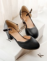 Women's Shoes Faux Leather Chunky Heel Basic Pump Sandals/Pumps/Heels Office & Career/Dress/Casual Black