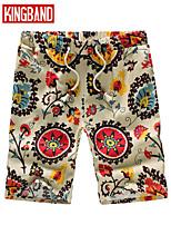 Men's Casual/Plus Sizes Print Shorts Pants (Linen)KB6B07