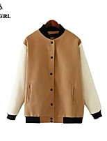 LIVAGIRL®Women's Jacket Fashion Long Sleeve Stand Neck Slim Baseball Jacket Europe Style Casual All-Match Coat Outwear