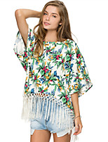 Women's Floral Multi-color T-shirt , Casual/Print Round Neck Short Sleeve Tassel