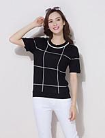 YINGYIYANG® Women's Korean Loose Maxi Size Striped Lightweight Short Sleeve Knitwear