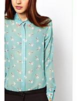 Women's Casual/Work Micro-elastic Long Sleeve Regular Shirt (Chiffon/Denim)